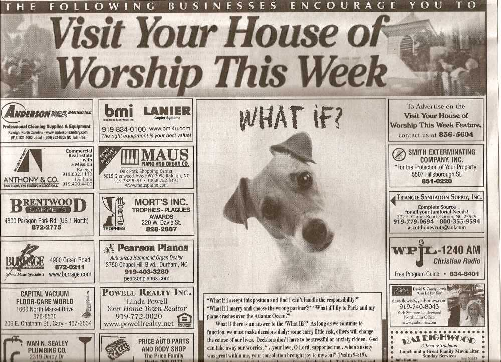 Visit your house of worship this week